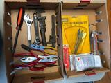 Two Boxes of Tools, Pliers, Wrenches, Bits, Safety Goggles