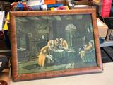 Antique Framed Print w/ Interesting Theme