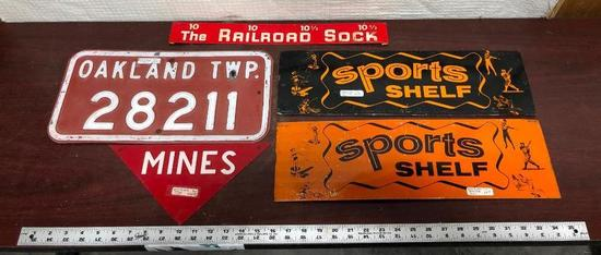 Lot of 5 Metal & Tin Signs, Sports Shelf, Oakland TWP Lic. Plate, Mines, Other