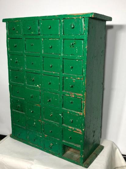 Primitive Bolt Cabinet w/ 32 Drawers, Green Paint, 22in Tall, Missing One Drawer