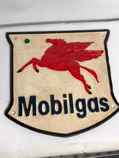 Contemporary Mobilgas Cast Iron Placqard 10in