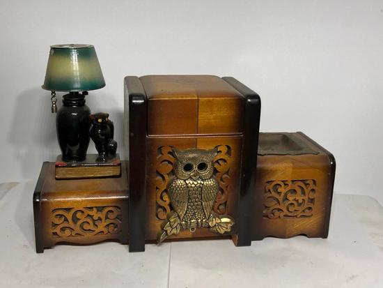 Vintage Musical Cigarette Dispenser, Lighter and Ashtray w/ Figural Owl and Cat and Lamp Lighter