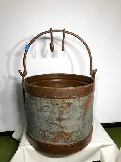 Primitive Wishing Well Bucket w/ 2 Hooks, Brass & Cast Iron Hardware, Metal Body, 12in x 15in