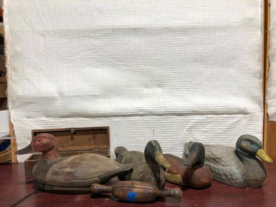 4 Duck Decoys (3 Wooden), Wood Box, Primitive Rolling Pin