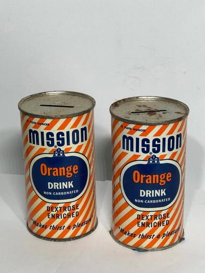 Lot of 2 Tin Mission Orange Banks, 12 Oz. Cans