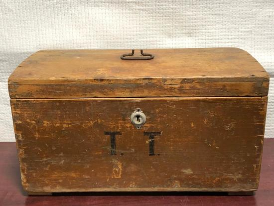 Primitive Wooden Trunk w/ Dovetailed Joints, TT Monogram