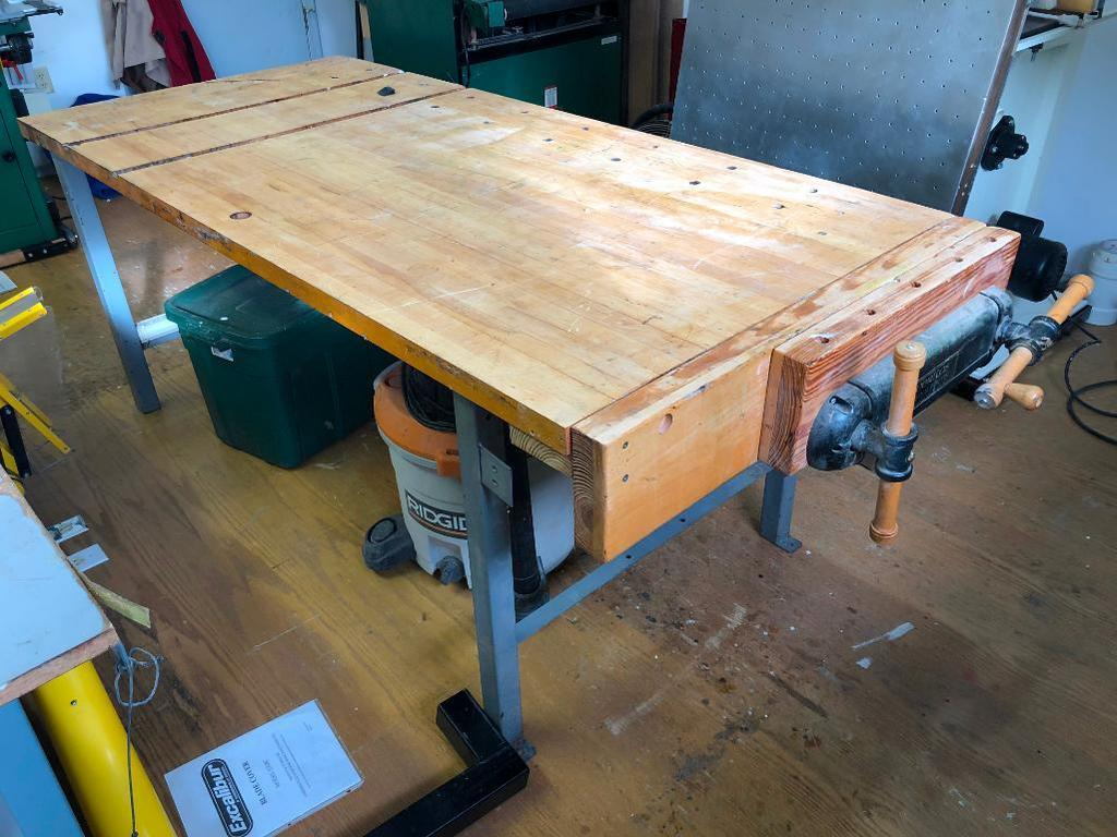 Lot Maple Top Bench With Veritas Twin Screw Vise