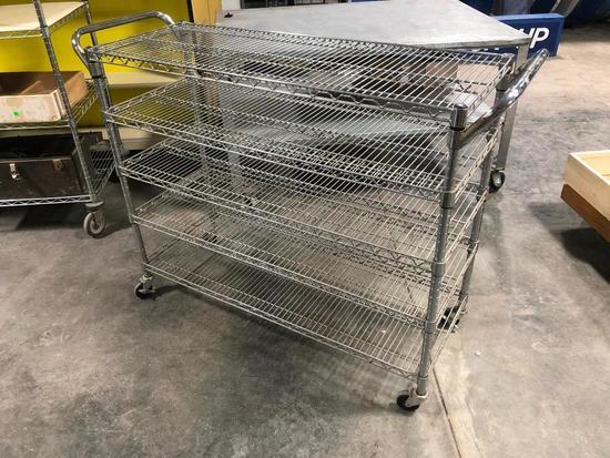 NSF Stainless Steel Rolling Rack, 5 Shelves, 40in High, 48in Wide, 24in Deep