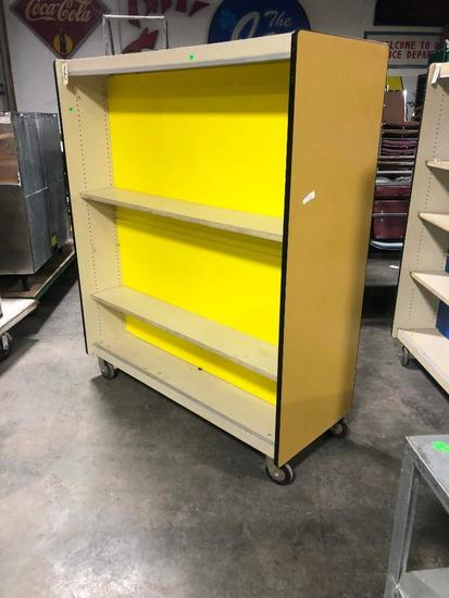 HD Rolling Display Shelving Unit, Double Sided, Great For Books or Retail Items, 72in x 60in x 24in