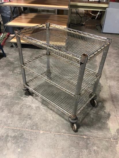 NSF Stainless Steel Rolling Cart, Recessed Shelves, Great for Green House, Shop, 30in H, 18in x 32in