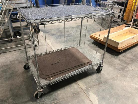NSF Stainless Steel Rolling Rack, 2 Shelves, 44in High, 48in Wide, 30in Deep