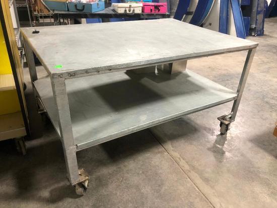 HD Steel Rolling Table w/ Under Shelf, Very Heavy Duty, 56in x 39in x 33in High