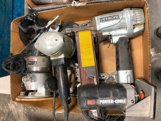 Hitachi Air Nailer, Porter Cable Laminate Trimmer, Router and Orbital Sander