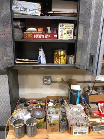 Supply Lot: Lot's of Random Shop Supplies, Hardware, Stains, Nails, C-Clamp, Misc.