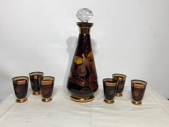 Etched Czech Wine Decanter Set w/ Tasting Glasses and Stopper, Butterfly Pattern