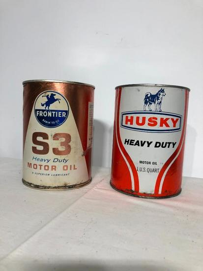 Vintage Husky and Frontier Oil Cans, NOS 1 Quart