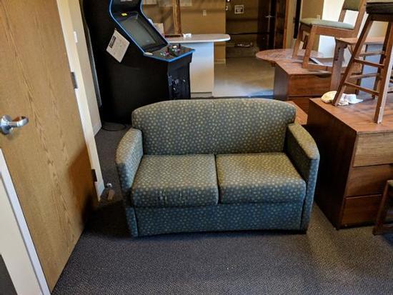 "AGI 5633 Jessa Two Seat Sofa 53""Wx30""Dx32.5""H Maharam Rufina Teal Green"