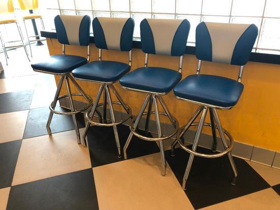 Modern 1950's Retro Diner Style Blue, White & Chrome Swivel Bar Stools