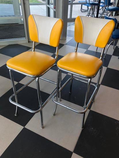 Modern 1950's Retro Diner Style Yellow & Chrome Bar Stools