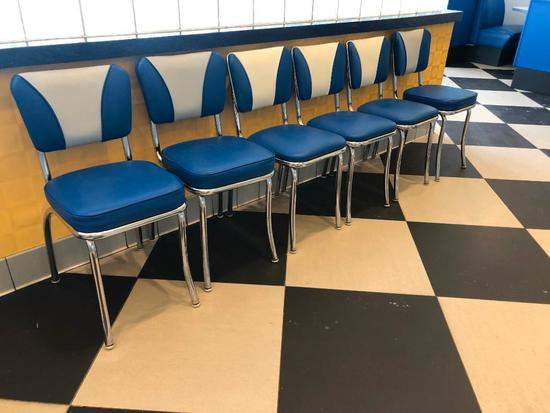 Lot of 6, Modern 1950's Retro Diner Style Blue, White & Chrome Chairs