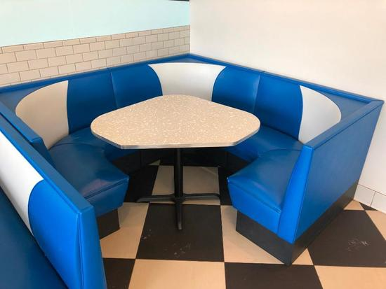 Mdoern 1950's Retro Diner Style Blue & White Corner Booth & Restaurant Table