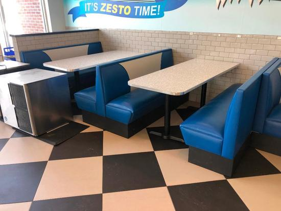 "Modern 1950's Retro Diner Style (2) 72""L x 30""W Restaurant Tables & (3) Blue & White Booths"