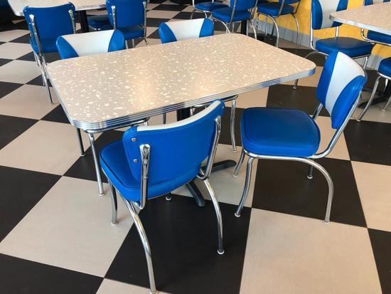 Modern 1950's Retro Diner Style Restaurant Table & (4) Blue, White & Chrome Chairs