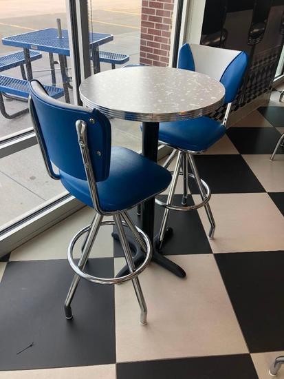 Modern 1950's Retro Diner Style Pub Table & (2) Blue, White & Chrome Swivel Bar Stools