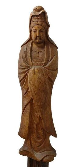 Wood Carved Figural Religious Woman Cane, Figure Cloaked in Robe
