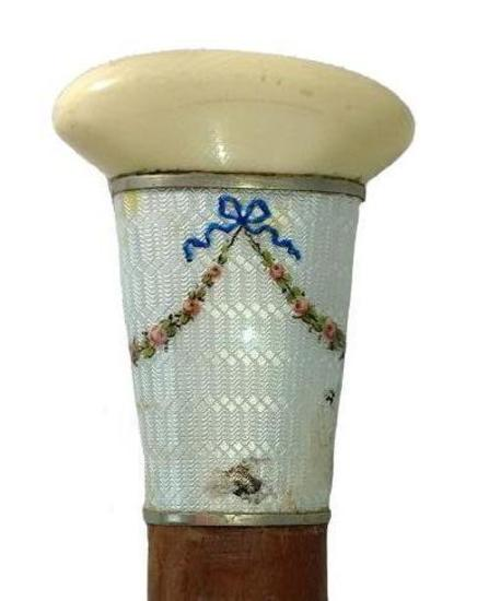 Ornate Dress Cane with Tusk or Bone Knob and Engraved Porcelain Band between Silver Collars