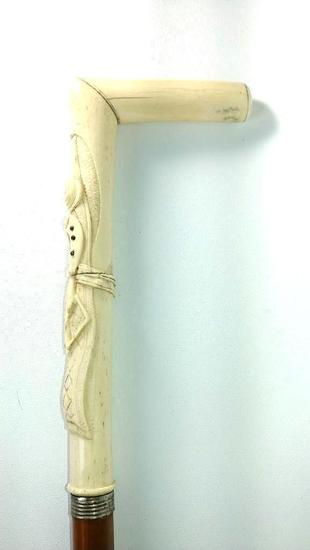 Ornate Carved Tusk or Bone L-Shaped Cane,