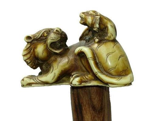 Figural Carved Tusk or Bone Lions Handle on Wooden Shaft Cane