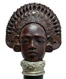 Figural African Style Girl Cane with Silver Collar and Ebony Shaft