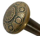 Very Nice Brass Knob Handled Dress Cane with Simple Flower Engravings on Knob, Wooded Shaft