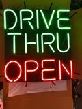 Drive Thru Open Neon Sign, - Two Colors