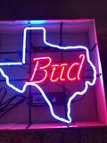 Bud Texas Neon Sign, State of Texas in Neon