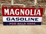Magnolia Gasoline For Sale Here, Double Sided Porcelain Sign, DSP 30in x 14in, Old Rare Sign