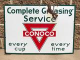 Conoco Complete Greasing Service Porcelain Sign, Single Sided, Burdick N. American Bldg Chi, SSP