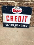 Esso Motor Oil Credit Cards Honored Double Sided Porcelain Sign, c. 1939, 18in x 14in, DSP