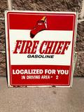 Texaco Fire Chief Gasoline Double Sided Tin Sign, 18in x 16in
