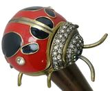 Bejeweled Lady Bug Cane with Brass, Hinged Top