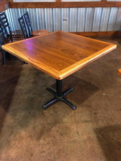 Restaurant Table, Wood & Laminate Top, Single Pedestal Iron Base, 36in x 36in x 30in