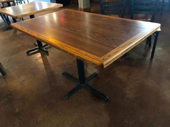 Restaurant Table, Wood & Laminate Top, Single Pedestal Iron Base, 42in x 30in x 30in