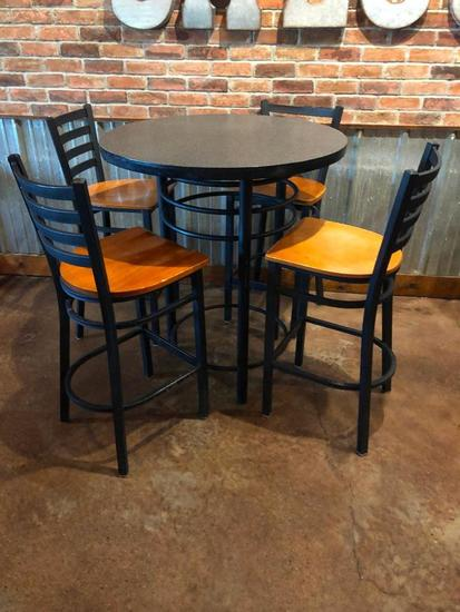 Contemporary Round Pub Table with 4 Bar Stools, 36in High, 42in High