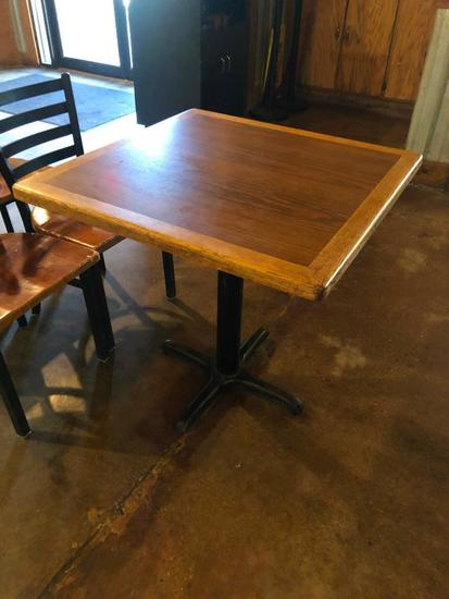 Restaurant Table, Wood & Laminate Top, Single Pedestal Iron Base, 30in x 30in x 30in