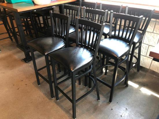 Lot of 8 Iron Base Restaurant Stools w/ Black Padded Seat & Iron Back Rest