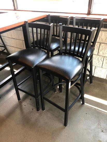 Lot of 4 Iron Base Restaurant Stools w/ Black Padded Seat & Iron Back Rest