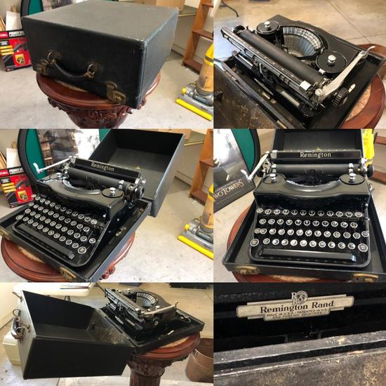1930's Vintage Remington Rand Model No. 1 Noisy Noiseless Portable Typewriter w/ Orig. Case