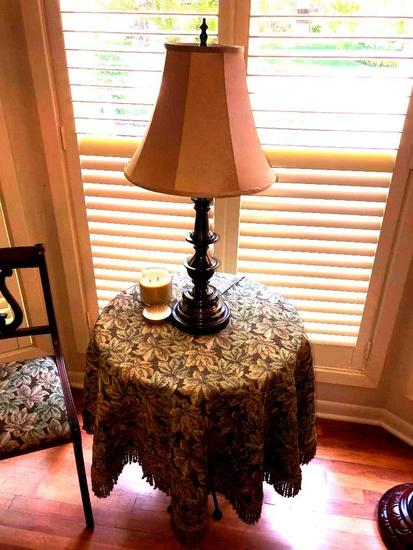 Wooden Table w/ Wrought Iron Legs, Table Cloth & Lamp
