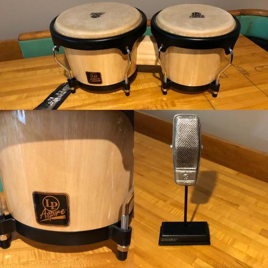 LP Aspire Bongo Drums and Microphone Paperweight, the Fred Norris Lot